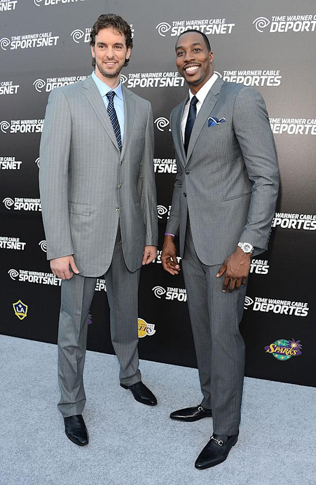 """Lakers stars Pau Gasol and the newly-acquired Dwight Howard were also on hand for the festivities. The all-star center shared his thoughts on living in L.A., after asking for a trade in the off-season from the Orlando Magic. """"I've been involved in a couple of earthquakes, which is kind of cool,"""" noted Howard. (10/1/2012)"""