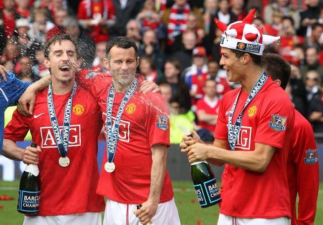 Gary Neville, left, and Cristiano Ronaldo, right, are former Manchester United team-mates