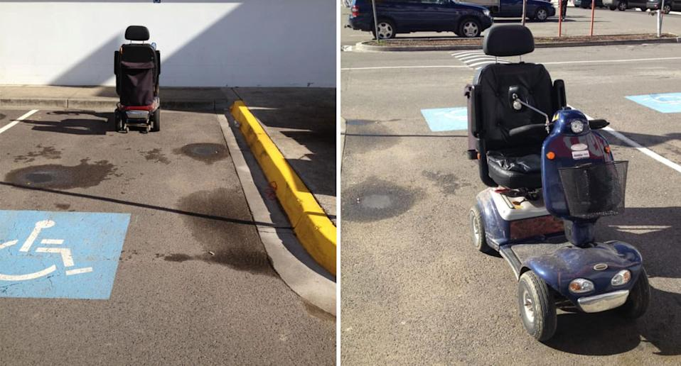 A Melbourne mobility scooter was blocking off a Bunnings disabled parking bay.