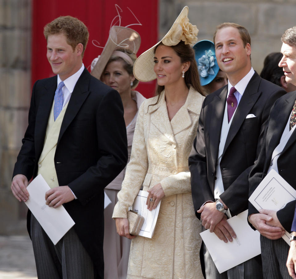 <p>William and Kate hadn't long become the Duke and Duchess of Cambridge, while Prince Harry was unmarried. (Indigo/Getty Images)</p>