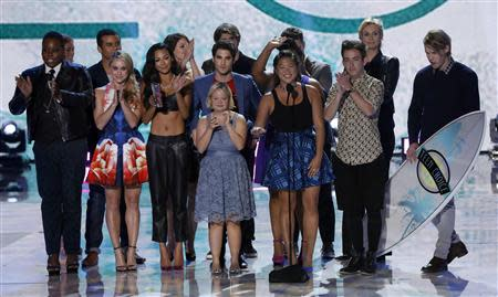 """File photo of the cast of television series """"Glee"""" accepting the Choice TV Show: Comedy Award at the Teen Choice Awards in Universal City"""