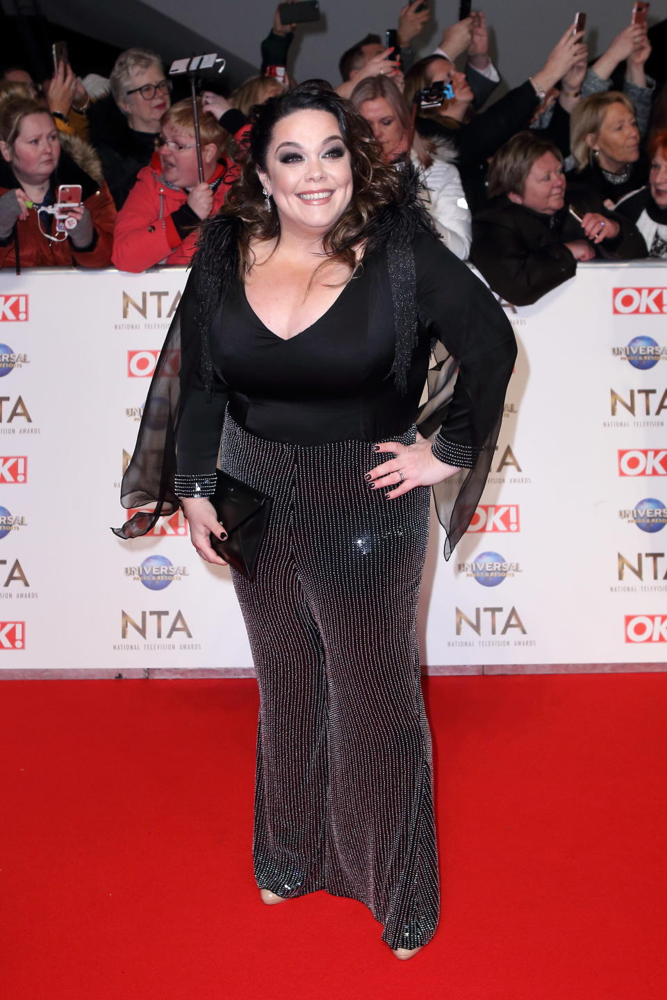 Lisa Riley arrives at the National television Awards 2020 O2 greenwich London- PHOTOGRAPH BY Jamy / Barcroft Media (Photo credit should read Jamy/Barcroft Media via Getty Images)