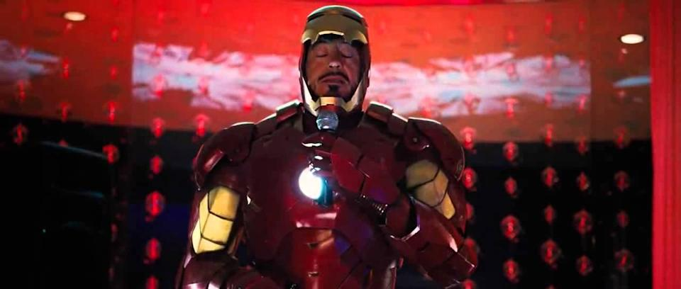 Tony Stark relieves himself in 'Iron Man 2' (Marvel Studios)