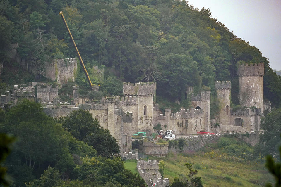 """ABERGELE, WALES - AUGUST 14: A general view of Castell Gwyrch on August 14, 2020 in Abergele, Wales. Gwyrch Castle rumoured to be the set of this year's ITV reality TV show """"I'm A Celebrity Get Me Out Of Here"""" Usually filmed in Queensland, Australia, this year's show will be held in the UK due to the Coronavirus Pandemic. Gwrych Castle, is a near derelict Grade I listed country house that stands in 250 acres of gardens and grounds on the North Wales coast. (Photo by Christopher Furlong/Getty Images)"""