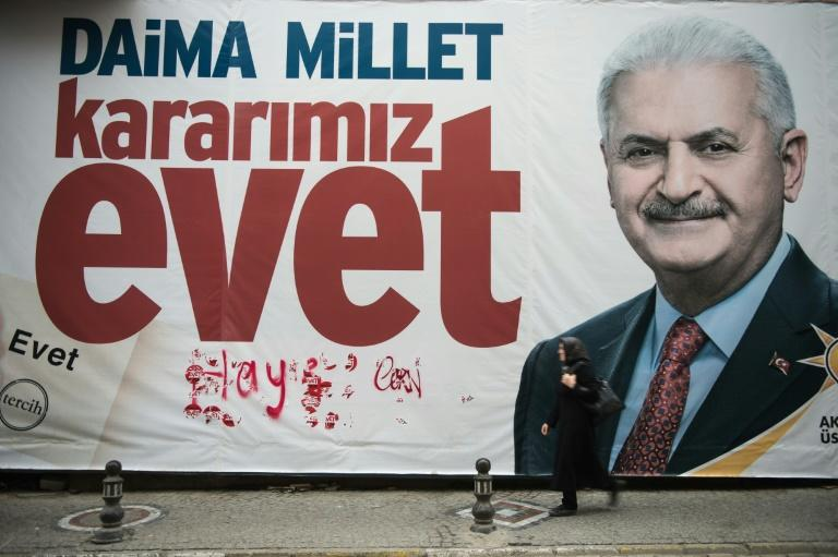 A giant poster of Prime Minister Binali Yildirim, backing a 'yes' vote in Turkey's referendum on expanding presidential powers, pictured in Istanbul on April 6, 2017