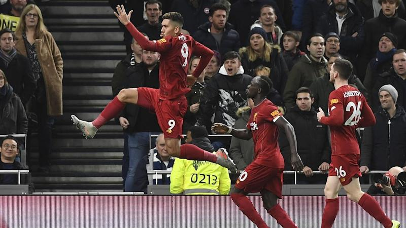 Roberto Firmino (L) has scored to give Liverpool a 1-0 win over Tottenham Hotspur