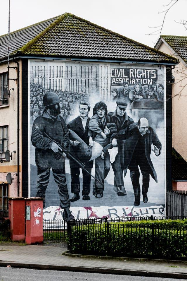 A mural depicting events on Bloody Sunday (Liam McBurney/PA)