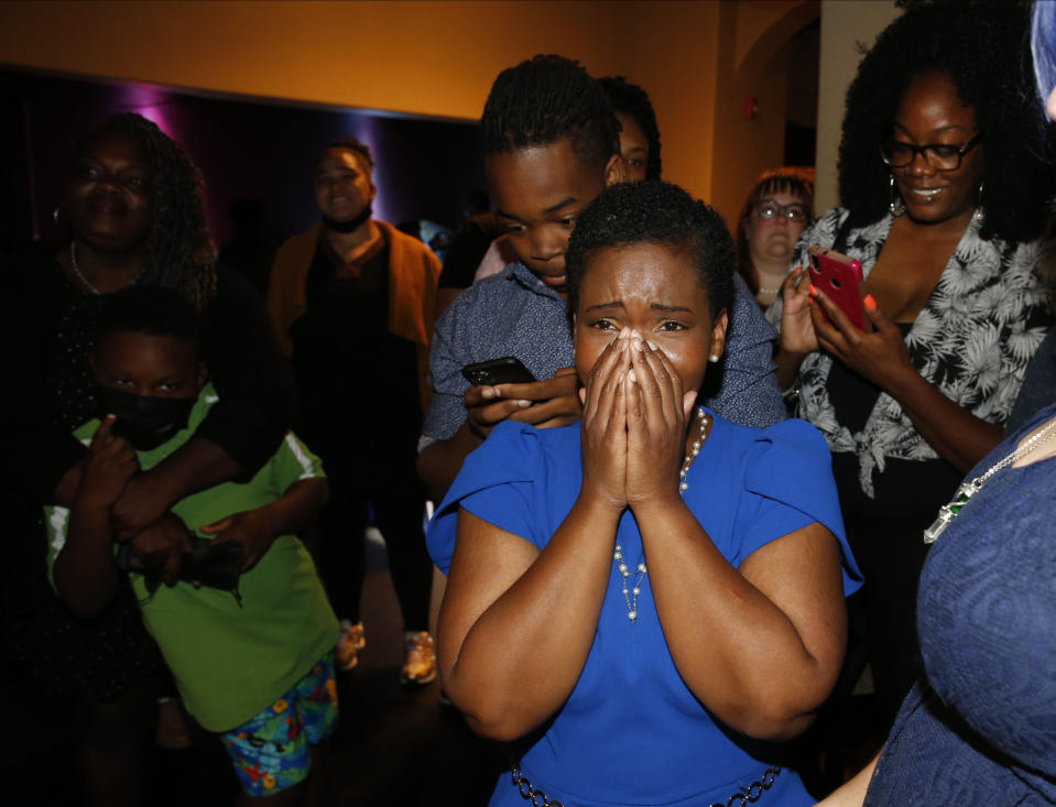 Democratic Buffalo mayoral primary candidate India Walton reacts while watching voting returns for the race against Byron Brown, Tuesday, June 22, 2021 in Buffalo, N.Y. (Robert Kirkham/The Buffalo News via AP)