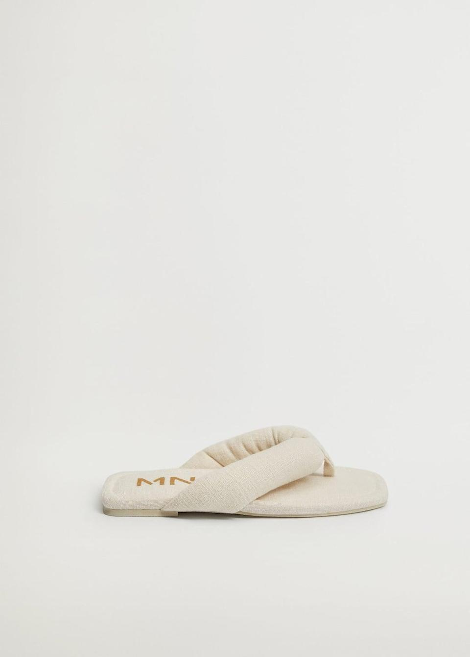 <p>Join the square-toe sandal movement without sacrificing comfort courtesy of these <span>Mango Quilted Cotton Sandals</span> ($40).</p>