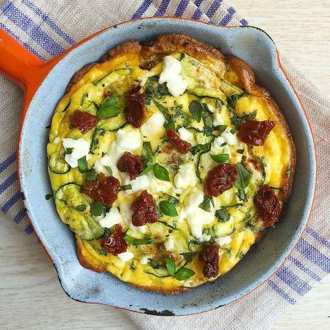 """<p>The beauty of this frittata: The leftovers make for a delicious breakfast.</p><p>Get the <a href=""""https://www.delish.com/uk/cooking/recipes/a28961619/summer-frittata-sundried-tomatoes-feta-zucchini-recipe/"""" rel=""""nofollow noopener"""" target=""""_blank"""" data-ylk=""""slk:Summer Frittata with Sun-Dried Tomatoes, Feta & Courgette"""" class=""""link rapid-noclick-resp"""">Summer Frittata with Sun-Dried Tomatoes, Feta & Courgette</a> recipe. </p>"""