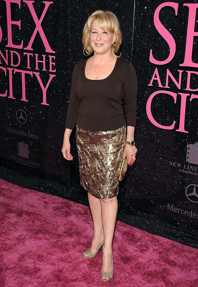 "Bette Midler took a break from her new Las Vegas gig to attend the 'SATC' premiere in NYC. We love the Divine Miss M. and her copper-colored skirt, but her hair and makeup was a little blah for the pink carpet. Dimitrios Kambouris/<a href=""http://www.wireimage.com"" target=""new"">WireImage.com</a> - May 27, 2008"