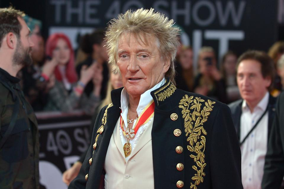 LONDON, ENGLAND - FEBRUARY 18: (EDITORIAL USE ONLY) Rod Stewart  attends The BRIT Awards 2020 at The O2 Arena on February 18, 2020 in London, England. (Photo by Jim Dyson/Redferns)