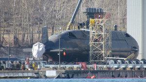HMCS Windsor sits on the navy dock Tuesday.