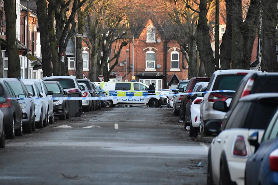<p>Police at the scene in Linwood Road, Handsworth, where a 15-year-old boy died on Thursday afternoon after being attacked by a group of youths.</p> (PA)