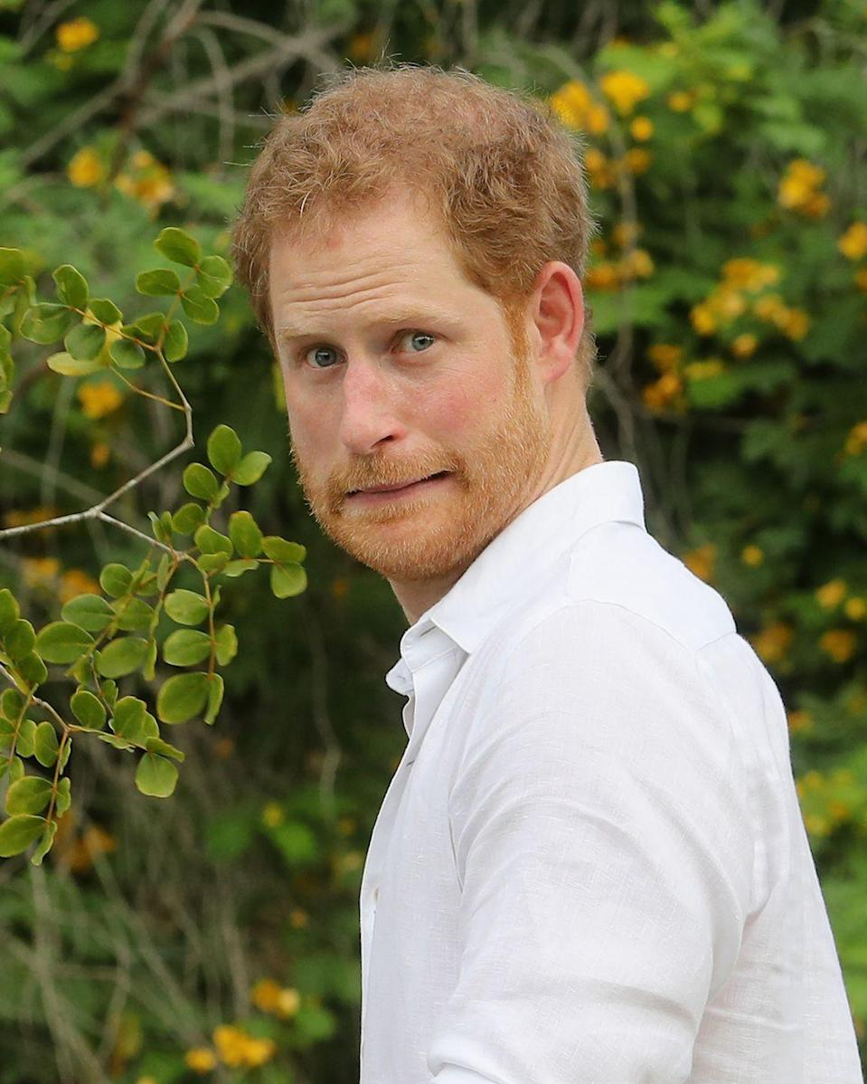"""<p>Prince Harry, known by many as one of the more <a href=""""https://www.goodhousekeeping.com/life/entertainment/g3501/william-kate-royal-protocol/"""" rel=""""nofollow noopener"""" target=""""_blank"""" data-ylk=""""slk:rebellious royals"""" class=""""link rapid-noclick-resp"""">rebellious royals</a>, has frequently shown off his silly side. But this photo, taken in 2016 while he visited Antigua and Barbuda, captures a particularly delightful face of the Duke of Sussex looking scared. Of what? That remains a mystery. </p>"""