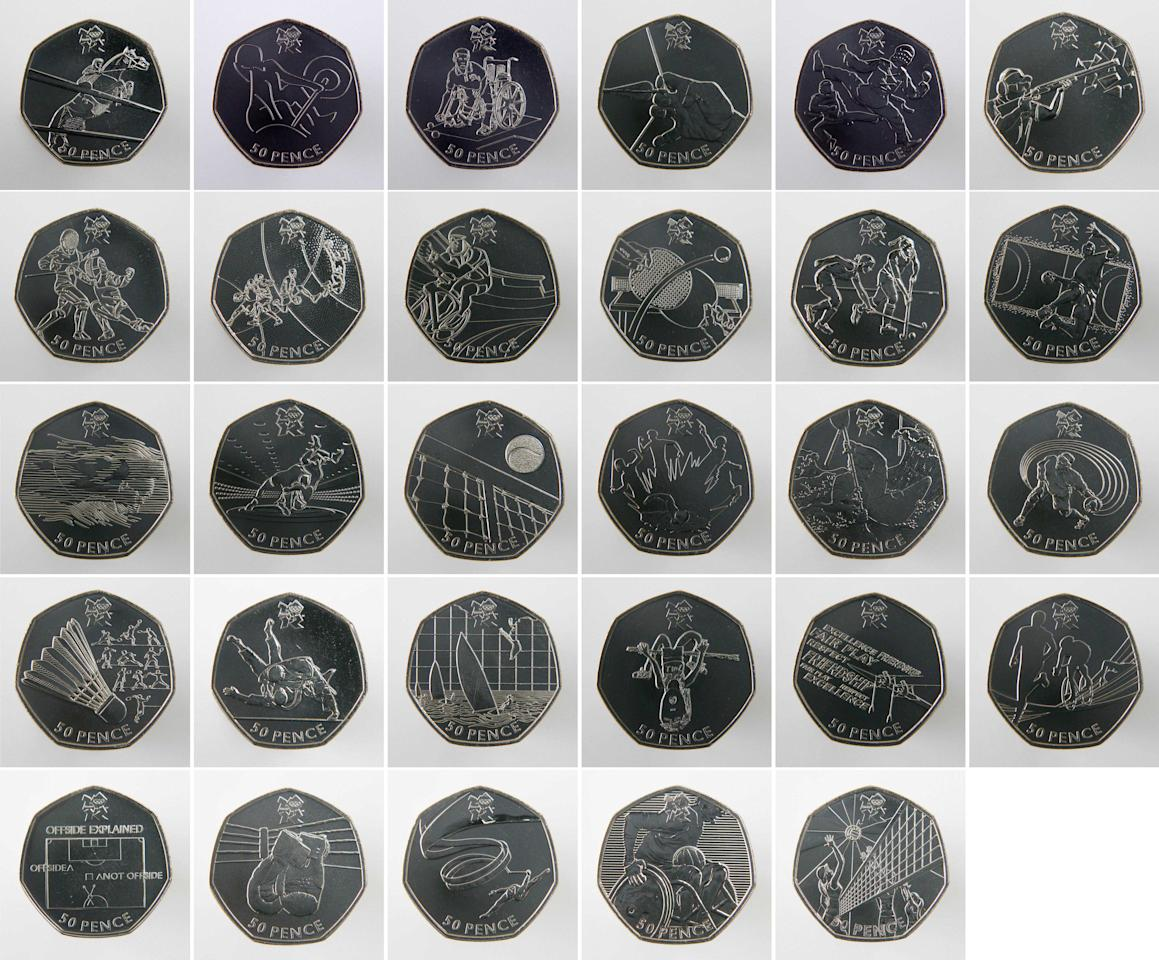 In this undated photo, a display of 50 pence coin designs, depicting the 29 disciplines that will be contested at the London 2012 Olympics and Paralympics, Over 30,000 designs were submitted to the Royal Mint following the launch of a public competition in Jan. 2009. After months of consultation the final 29 were chosen by a panel of independent experts and representatives of the Royal Mint, London 2012 and the International Olympic Committee.