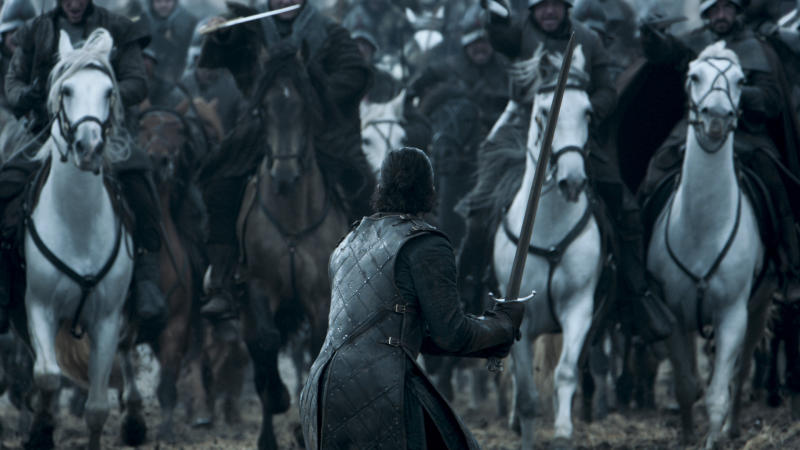 Kit Harington's Jon Snow faces down the enemy in Game of Thrones' epic Battle of the Bastards. (HBO)