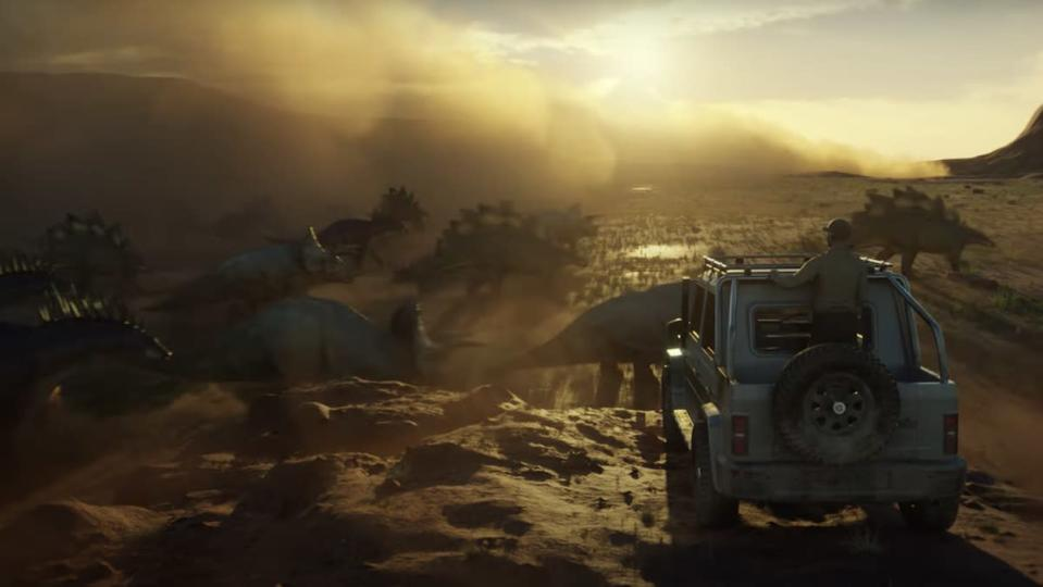 A rendering of a video game of a man in a truck looking over a cliff and watching triceratops run in a cloud of dust