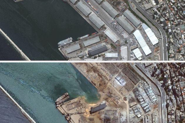 The port of Beirut before (top) and after the explosion (Photo: Getty)
