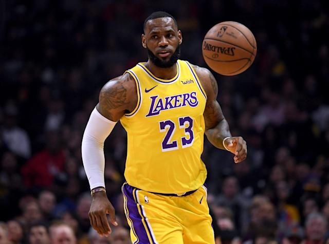 "<a class=""link rapid-noclick-resp"" href=""/nba/players/3704/"" data-ylk=""slk:LeBron James"">LeBron James</a> made his return on Thursday night after missing 17 games with a groin injury, and nearly dropped a triple-double in the <a class=""link rapid-noclick-resp"" href=""/nba/teams/la-lakers/"" data-ylk=""slk:Lakers"">Lakers</a>' win against the <a class=""link rapid-noclick-resp"" href=""/nba/teams/la-clippers/"" data-ylk=""slk:Clippers"">Clippers</a>. (Harry How/Getty Images)"