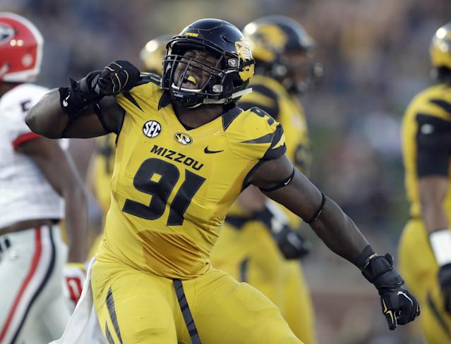 Mizzou DE Charles Harris is still raw but flashes fascinating potential. (AP)