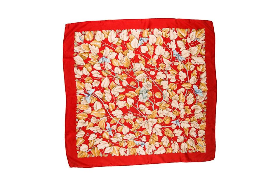 "$395, The RealReal. <a href=""https://www.therealreal.com/products/women/accessories/scarves-and-shawls/hermes-l-arbre-de-soie-silk-scarf-7l6b7?position=41"" rel=""nofollow noopener"" target=""_blank"" data-ylk=""slk:Get it now!"" class=""link rapid-noclick-resp"">Get it now!</a>"