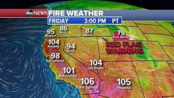 PHOTO: Red flag warnings are in place in the West due to hot, dry weather conditions. (ABC News)