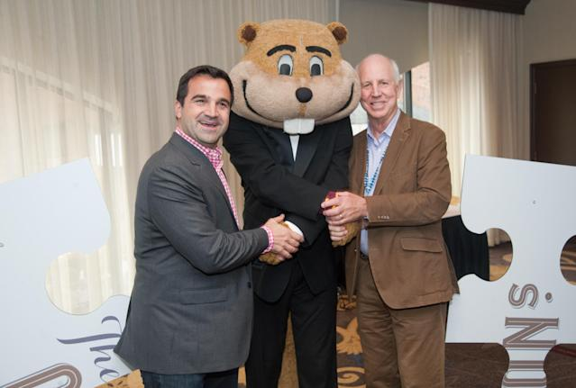 Goldy Gopher was much nicer to these old dudes. (Craig Lassig /AP Images for Noble House Hotels & Resorts)