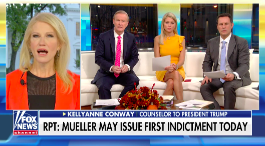 "Campaigns don't usually ""dig around with foreign nationals"" for oppo research, Kellyanne Conway said on ""Fox & Friends"" Monday. (Fox News/Twitter)"