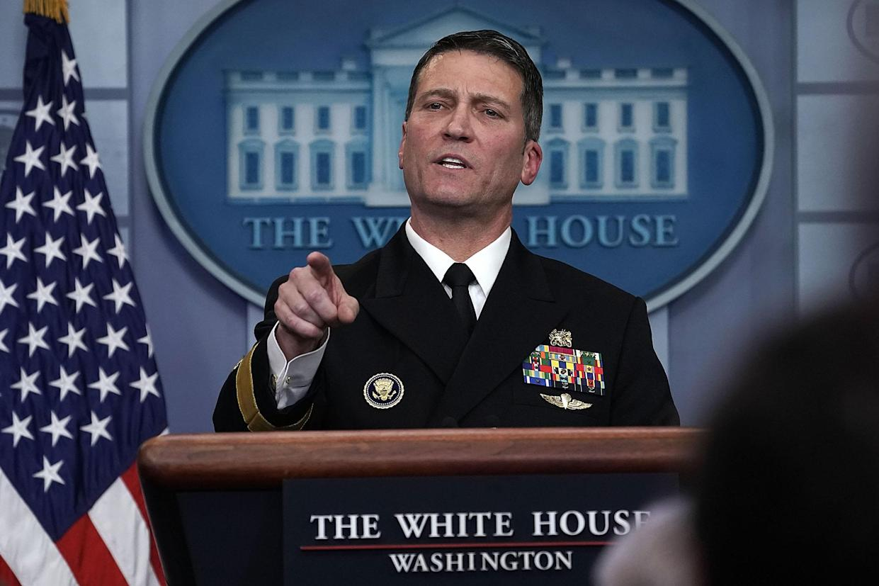 Dr. Ronny Jackson speaking at the White House, Jan. 16, 2018. (Photo: Alex Wong/Getty Images)