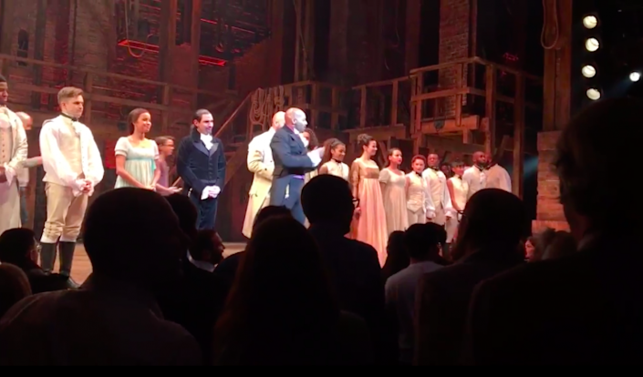 Brandon Victor Dixon addresses Vice President-elect Mike Pence. (Screenshot: Twitter/'Hamilton')