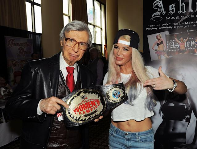 Former WWE star Ashley Massaro (R) died on Thursday morning. She was 39. (Getty Images)