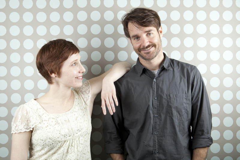 """This April 19, 2013 photo shows actor Will Forte, right, with director Steph Green in New York. Forte, a cast member on """"Saturday Night Live,"""" stars in his first dramatic role in """"Run and Jump,"""" a film being shown at the TriBeca Film Festival. (Photo by Amy Sussman/Invision/AP)"""