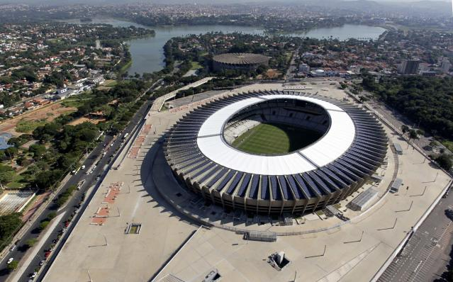 An aerial view of the Estadio Mineirao, one of the stadiums hosting the 2014 World Cup soccer matches, in Belo Horizonte, April 10, 2014. REUTERS/Washington Alves (BRAZIL - Tags: SPORT SOCCER WORLDCUP)