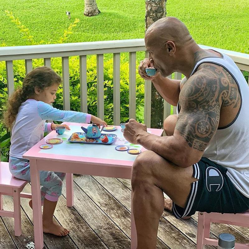 Dwayne Johnson Had a Tea Party With His Toddler, and I Can't Get Over His Tiny Chair