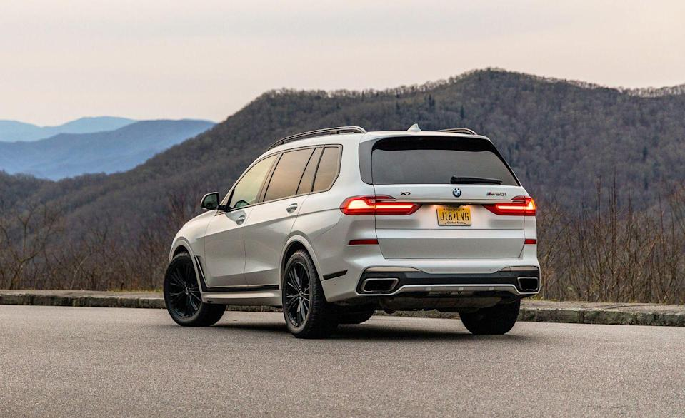 """<p>You know the modern world is hellbent on big-power giants when the SUV parked in last place on this list has a 523-hp 4.4-liter twin-turbocharged V-8. The normal <a href=""""https://www.caranddriver.com/bmw/x7"""" rel=""""nofollow noopener"""" target=""""_blank"""" data-ylk=""""slk:BMW X7"""" class=""""link rapid-noclick-resp"""">BMW X7</a> uses a smaller 335-hp turbocharged inline-six, but add another $25,000 to that starting price and you can unleash a three-row X7 M50i that throws elbows. Although its launch to 60 mph isn't the quickest on this list, 4.1 seconds in a 5742-pound SUV isn't what we'd consider drowsy. A true X7 M doesn't exist, though there's an even more powerful and faster X7 from Alpina. BMW gave us an <a href=""""https://www.caranddriver.com/reviews/a30911230/2020-bmw-x7-reliability-maintenance/"""" rel=""""nofollow noopener"""" target=""""_blank"""" data-ylk=""""slk:X7 M50i to brave 40,000 miles"""" class=""""link rapid-noclick-resp"""">X7 M50i to brave 40,000 miles</a> for our <a href=""""https://www.caranddriver.com/long-term-road-tests/"""" rel=""""nofollow noopener"""" target=""""_blank"""" data-ylk=""""slk:long-term road test"""" class=""""link rapid-noclick-resp"""">long-term road test</a>, where its accumulated more than 10,000 miles in just two months.</p><p><a class=""""link rapid-noclick-resp"""" href=""""https://www.caranddriver.com/bmw/x7"""" rel=""""nofollow noopener"""" target=""""_blank"""" data-ylk=""""slk:MORE X7 SPECS"""">MORE X7 SPECS</a></p>"""