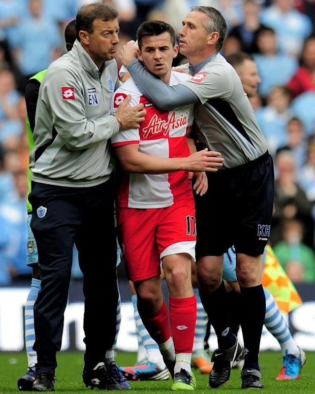 """<span class=""""element-image__caption"""">Joey Barton having to be restrained after being sent off for QPR against Man City.</span> <span class=""""element-image__credit"""">Photograph: Shaun Botterill/Getty Images</span>"""