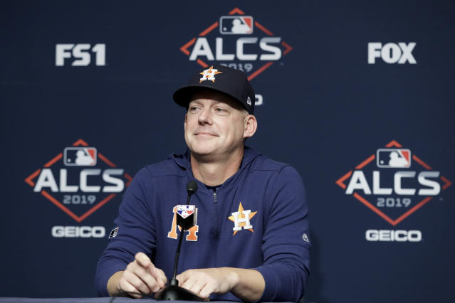 Houston Astros manager AJ Hinch answers questions during a news conference before Game 3 of baseball's American League Championship Series against the New York Yankees, Tuesday, Oct. 15, 2019, in New York. (AP Photo/Frank Franklin II)