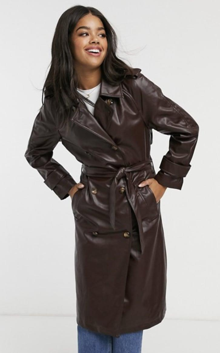 <p><span>ASOS Stradivarius Faux-Leather Belted Trench Coat</span> ($71) </p>