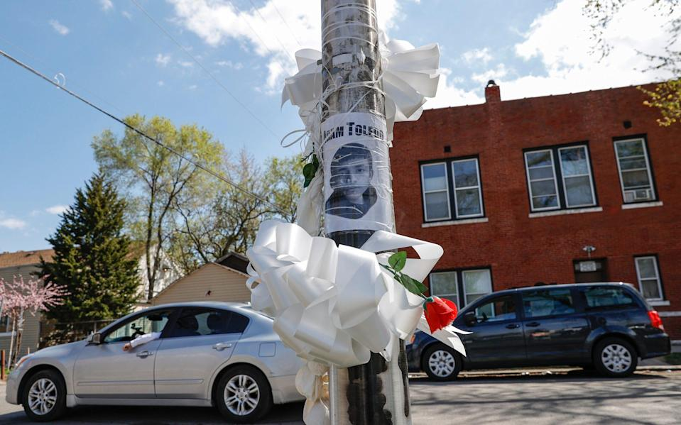 A small memorial to 13-year-old Adam Toledo who was killed in the Little Village neighbourhood of Chicago - Getty