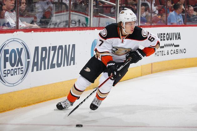 "GLENDALE, AZ – MARCH 03: Rickard Rakell #67 of the <a class=""link rapid-noclick-resp"" href=""/nhl/teams/ana/"" data-ylk=""slk:Anaheim Ducks"">Anaheim Ducks</a> skates with the puck during the NHL game against the Arizona Coyotes at Gila River Arena on March 3, 2016 in Glendale, Arizona. The Ducks defeated the Coyotes 5-1. (Photo by Christian Petersen/Getty Images)"