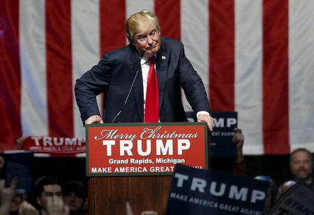 U.S. Republican presidential candidate Donald Trump addresses the crowd during a campaign rally in Grand Rapids