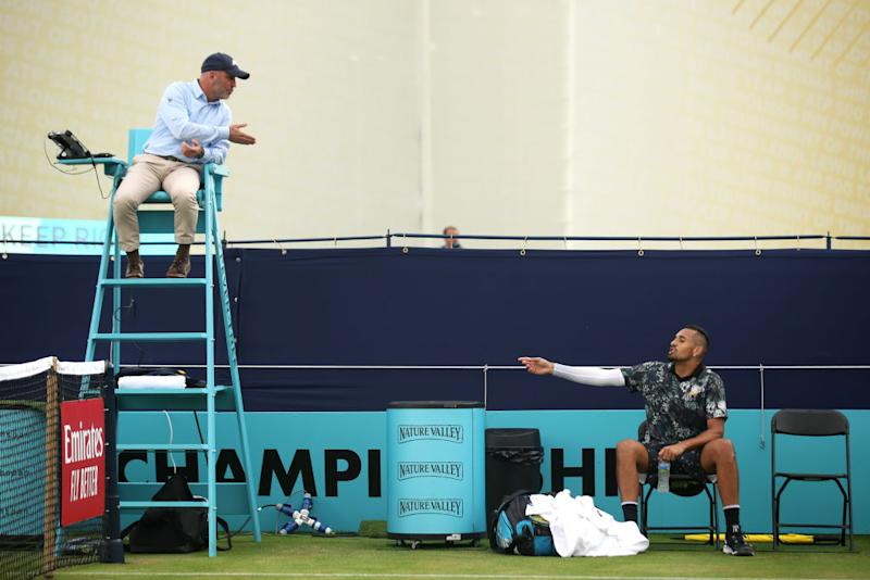 Nick Kyrgios lashes out at umpire for 'rigging' his match
