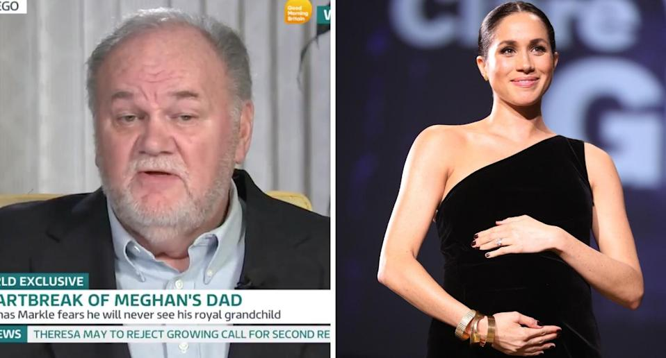It's believed that pregnant Meghan hasn't spoken to her father Thomas Markle since her wedding [Photos: ITV/Getty]