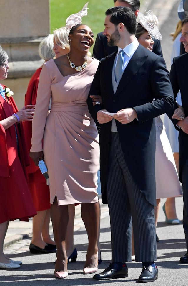 Tennis player Serena Williams arrives with her husband Alexis Ohanian to the wedding of Prince Harry and Meghan Markle in Windsor, Britain, May 19, 2018. REUTERS/Toby Melville/Pool