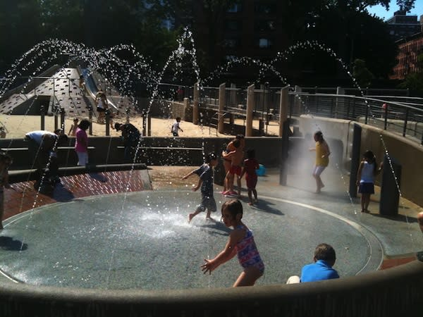 """<div class=""""caption-credit""""> Photo by: New York City Park Hopper</div><div class=""""caption-title"""">Nelson A. Rockefeller Playground, NYC</div>There are 500-plus playgrounds in New York City and this one is arguably the best. Climbing structures, sand tables, and a cute pedal merry-go-round encourage children to interact and have fun together."""