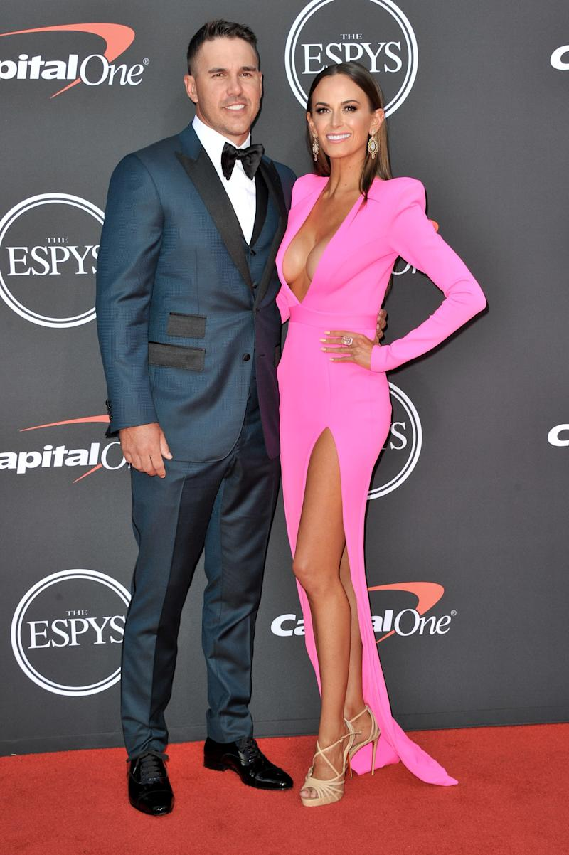LOS ANGELES, CALIFORNIA - JULY 10: (L-R) Brooks Koepka and Jena Sims attend the 2019 ESPY Awards at Microsoft Theater on July 10, 2019 in Los Angeles, California. (Photo by Allen Berezovsky/WireImage)