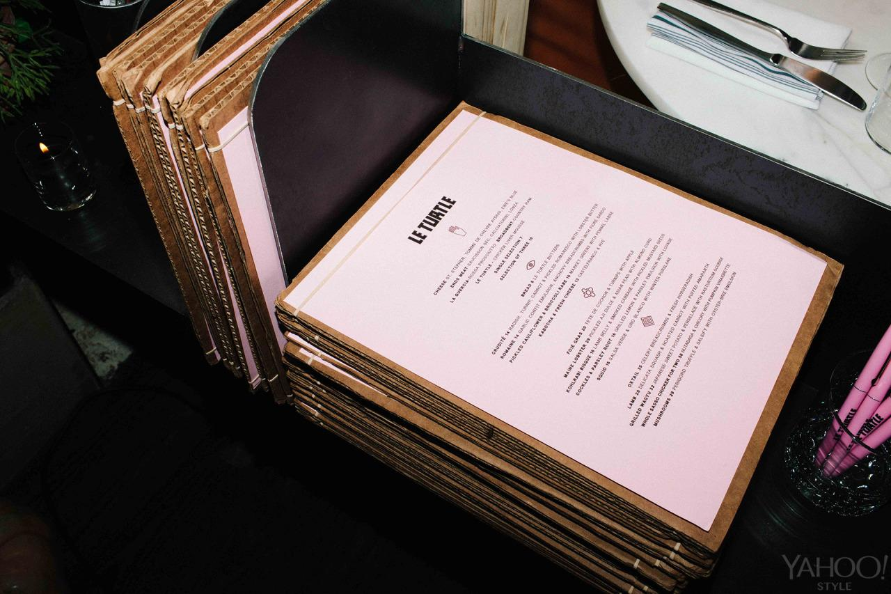 "<p>Menus designed by New York city graphic designer <a href=""http://letasobierajski.net/"">Leta Sobierajski</a>. The pale pink paper echoes the landing page of the restaurant's<a href=""http://leturtle.fr/""> website</a>.</p>"