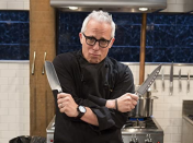 """<p>The show provides all the pots, pans, plates, and pantry items, but chefs are responsible for <a href=""""https://tv.avclub.com/what-it-s-like-to-compete-in-the-chopped-kitchen-1798277081"""" rel=""""nofollow noopener"""" target=""""_blank"""" data-ylk=""""slk:their knife sets"""" class=""""link rapid-noclick-resp"""">their knife sets</a>. According to the <a href=""""https://www.foodnetwork.com/shows/chopped/photos/an-insiders-tour-of-the-chopped-set"""" rel=""""nofollow noopener"""" target=""""_blank"""" data-ylk=""""slk:Food Network's website"""" class=""""link rapid-noclick-resp"""">Food Network's website</a>, each contestant can bring up to seven knives. </p>"""