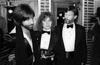 <p>Barbra Streisand and her costar, Kris Kristofferson, arrive at the premiere party for their film <em>A Star is Born</em> in matching tuxedos. The duo were joined by the film's producer Jon Peters at New York's Tavern on the Green. </p>
